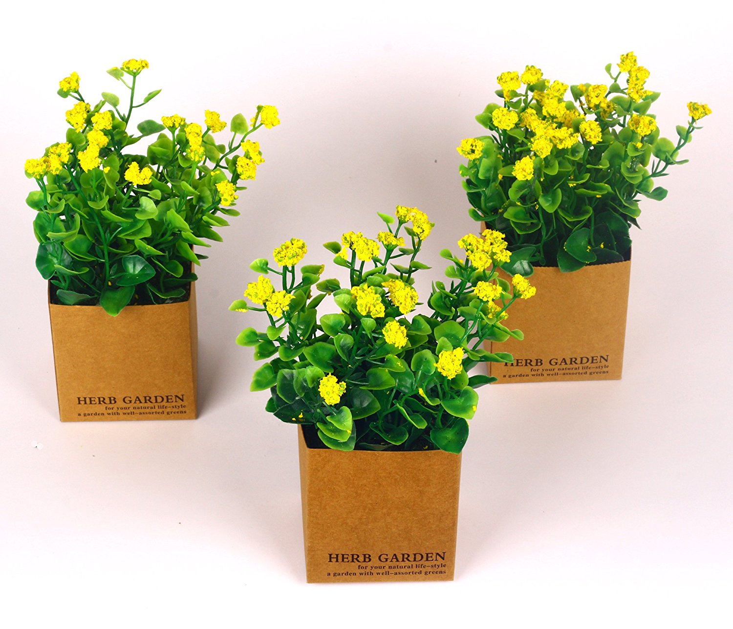 Vgia Set Flowers In Pot Fake Plants Small Yellow Jannah